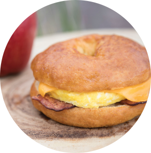 Gluten free breakfast bagel from Grand Prairie Foods