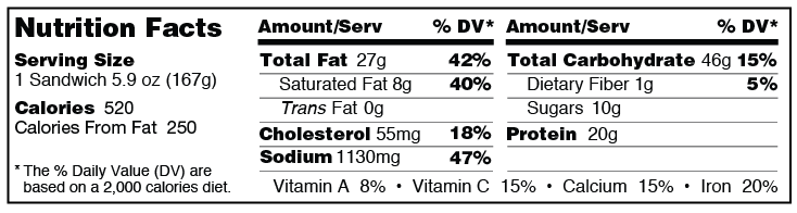 Barbecue rib sandwich from Grand Prairie Foods nutrition facts label