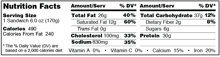 Flame broiled cheeseburger from Grand Prairie Foods nutrition facts label