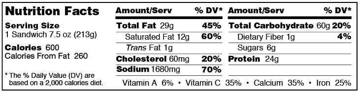 Pepperoni and pizza calzone from Grand Prairie Foods nutrition facts label