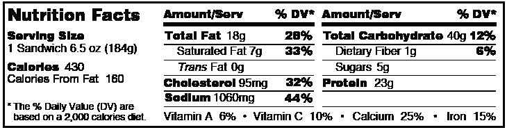 Smokey Bistro Chicken Brioche from Grand Prairie Foods nutrition facts label