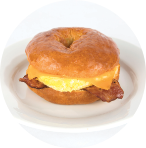 Turkey Bacon, Egg and Cheese on Gluten-Free Bagel circle image