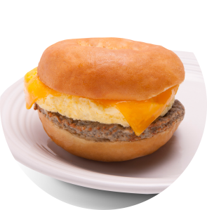 Sausage, egg, and cheese bagel circle image
