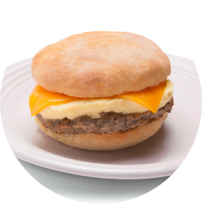 Turkey Sausage, Egg and Cheese on Gluten-Free Bialy circle image