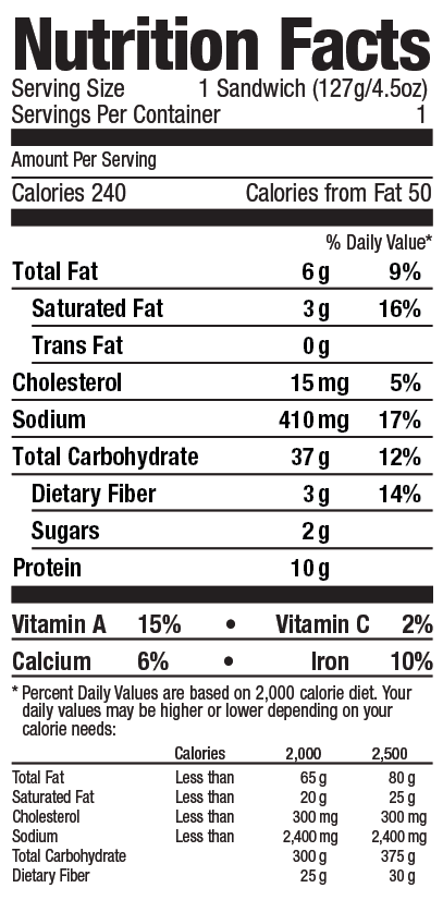 Mediterranean Style chia stuffer from Grand Prairie Foods nutrition facts label