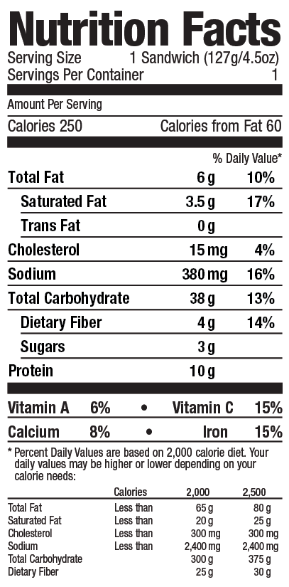 Southwest style chia stuffer from Grand Prairie Foods nutrition facts label