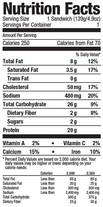 Grand Prairie Foods muffin nutrition facts label