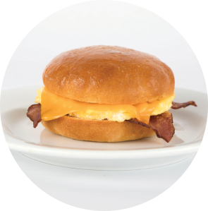Turkey Bacon, Egg and Cheese on Gluten-Free Bialy circle image