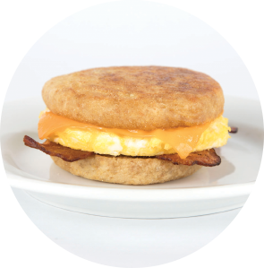 Turkey Bacon, Egg and Cheese on English Muffin circle image