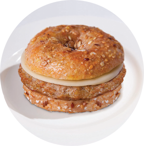 Turkey Sausage and Cheese on Multi-Grain Bagel circle image