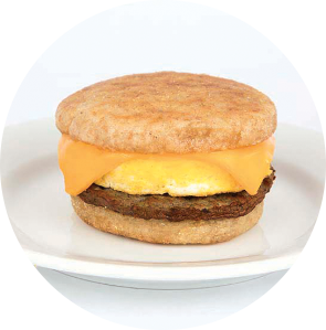 Turkey Sausage, Egg and Cheese on English Muffin circle image