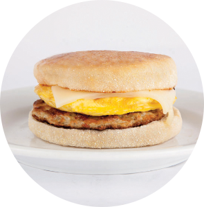 Turkey sausage, egg, and cheese English muffin sandwich from Grand Prairie Foods