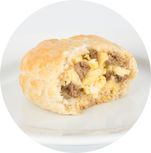 Turkey Sausage, Egg and Cheese Stuffed Biscuit circle image